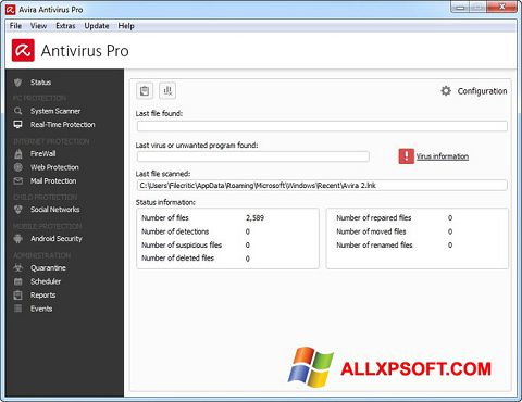 Снимка на екрана Avira Antivirus за Windows XP