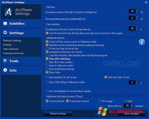 Снимка на екрана ALLPlayer за Windows XP