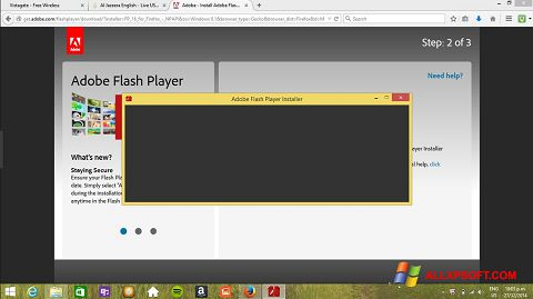 Снимка на екрана Adobe Flash Player за Windows XP