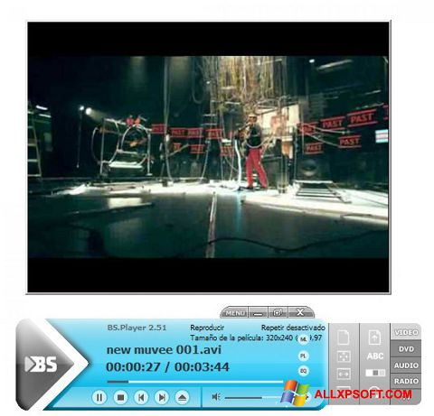 Снимка на екрана BSPlayer за Windows XP