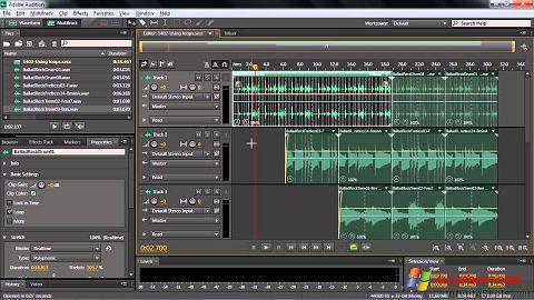 Снимка на екрана Adobe Audition CC за Windows XP