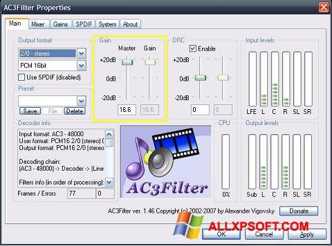 Снимка на екрана AC3Filter за Windows XP