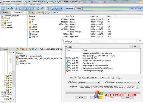 Снимка на екрана UltraISO за Windows XP