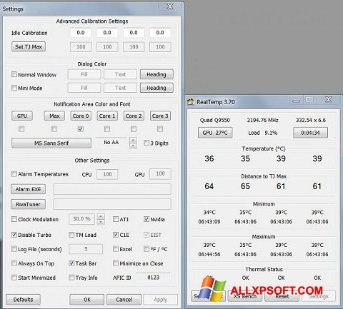 Снимка на екрана Real Temp за Windows XP