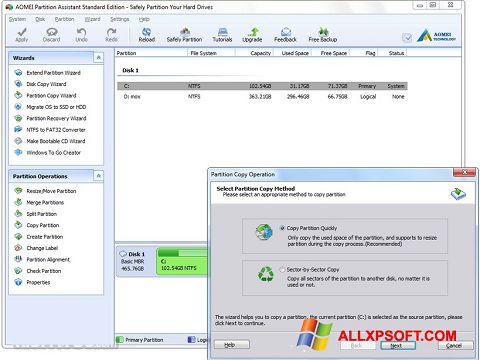 Снимка на екрана AOMEI Partition Assistant за Windows XP