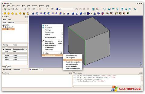 Снимка на екрана FreeCAD за Windows XP