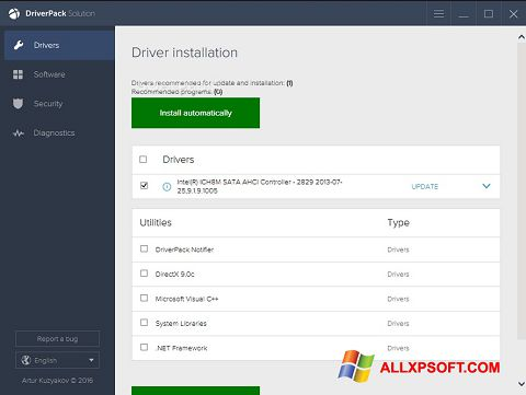 Снимка на екрана DriverPack Solution за Windows XP