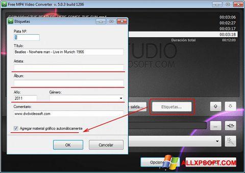 Снимка на екрана Free MP4 Video Converter за Windows XP