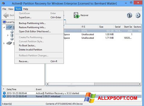 Снимка на екрана Active Partition Recovery за Windows XP
