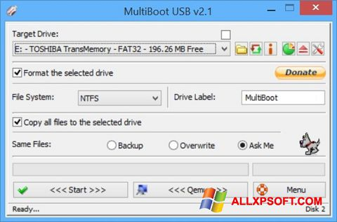 Снимка на екрана Multi Boot USB за Windows XP