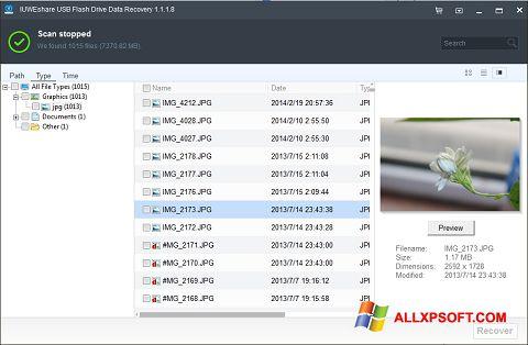 Снимка на екрана USB Flash Drive Recovery за Windows XP
