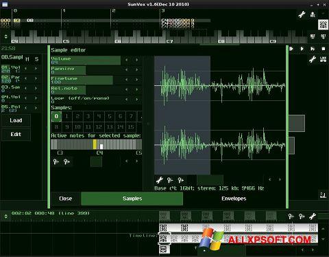 Снимка на екрана SunVox за Windows XP