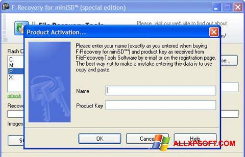 Снимка на екрана F-Recovery SD за Windows XP