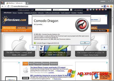 Снимка на екрана Comodo Dragon за Windows XP