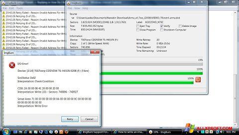 Снимка на екрана ImgBurn за Windows XP