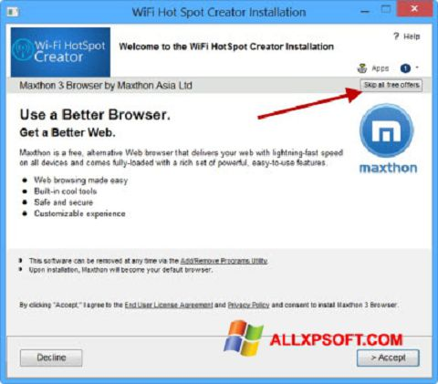 Снимка на екрана Wi-Fi HotSpot Creator за Windows XP