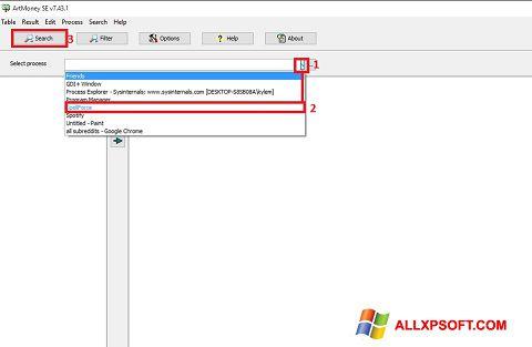 Снимка на екрана ArtMoney Pro за Windows XP