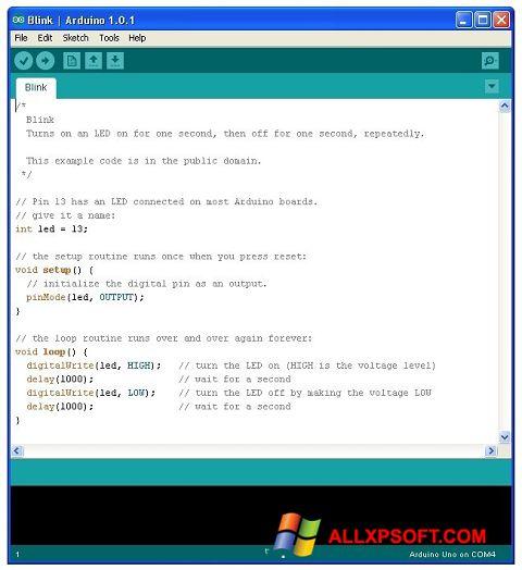 Снимка на екрана Arduino за Windows XP