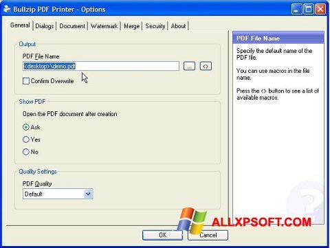 Снимка на екрана BullZip PDF Printer за Windows XP