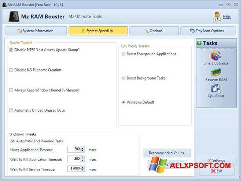 Снимка на екрана Mz RAM Booster за Windows XP