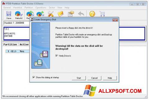 Снимка на екрана Partition Table Doctor за Windows XP