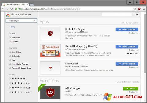 Снимка на екрана uBlock за Windows XP