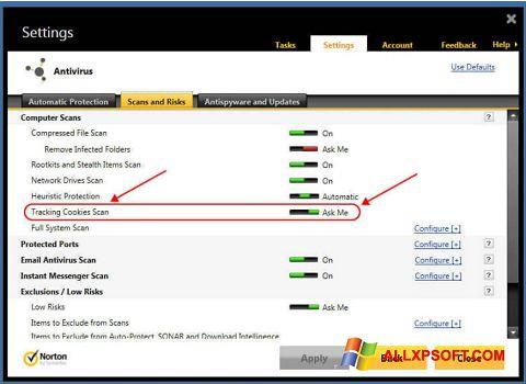 Снимка на екрана Norton за Windows XP
