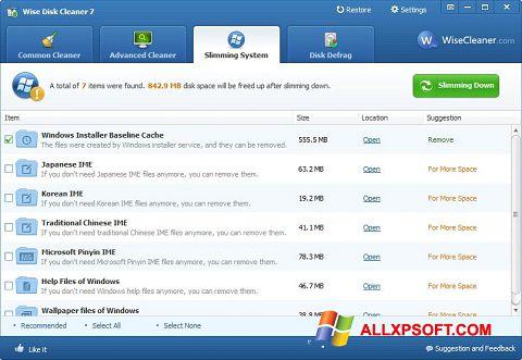 Снимка на екрана Wise Disk Cleaner за Windows XP