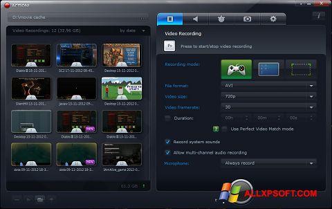 Снимка на екрана Action! за Windows XP