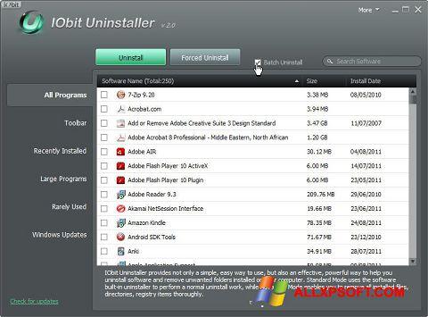 Снимка на екрана IObit Uninstaller за Windows XP