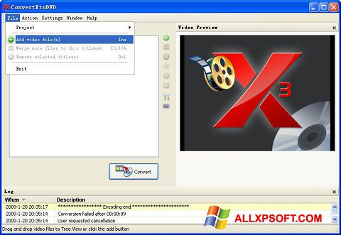 Снимка на екрана ConvertXToDVD за Windows XP