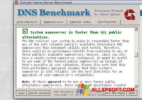 Снимка на екрана DNS Benchmark за Windows XP
