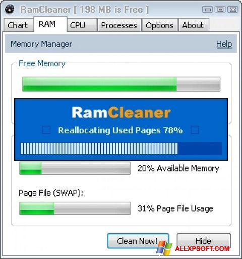 Снимка на екрана RamCleaner за Windows XP