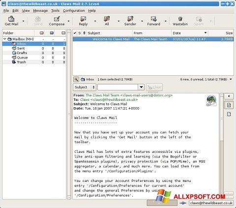 Снимка на екрана Claws Mail за Windows XP