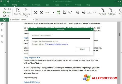 Снимка на екрана PDF Editor за Windows XP