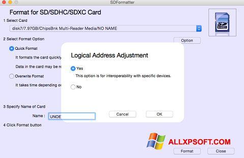 Снимка на екрана SDFormatter за Windows XP