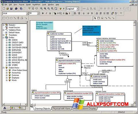 Снимка на екрана ERWin за Windows XP