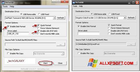 Снимка на екрана PeToUSB за Windows XP