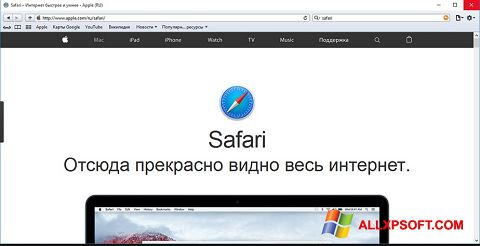 Снимка на екрана Safari за Windows XP