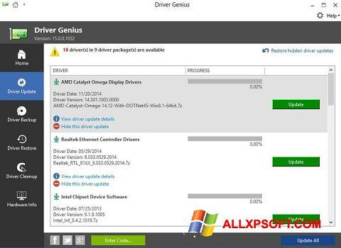 Снимка на екрана Driver Genius за Windows XP