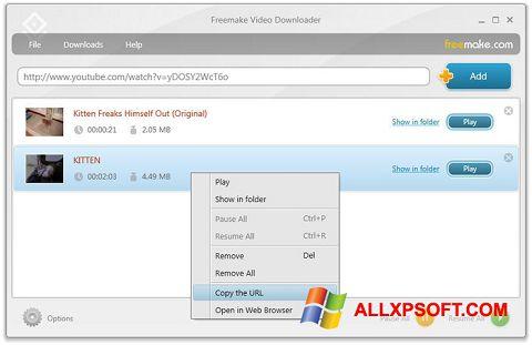 Снимка на екрана Freemake Video Downloader за Windows XP