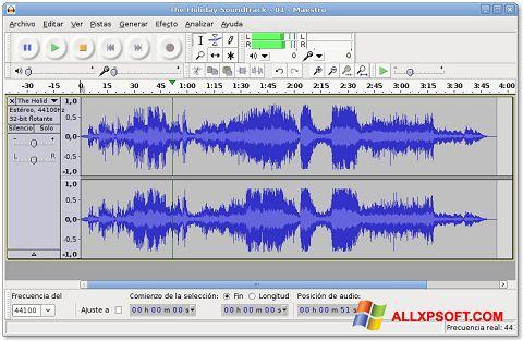 Снимка на екрана Audacity за Windows XP