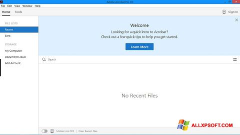 Снимка на екрана Adobe Acrobat Pro за Windows XP