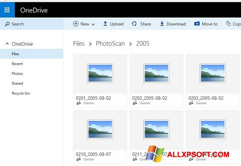 Снимка на екрана OneDrive за Windows XP