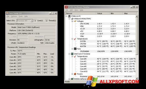 Снимка на екрана Core Temp за Windows XP