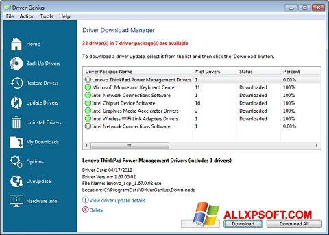 Снимка на екрана Driver Genius Professional за Windows XP