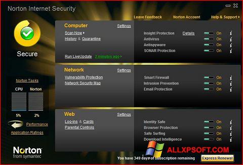 Снимка на екрана Norton Internet Security за Windows XP