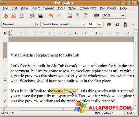 Снимка на екрана AbiWord за Windows XP