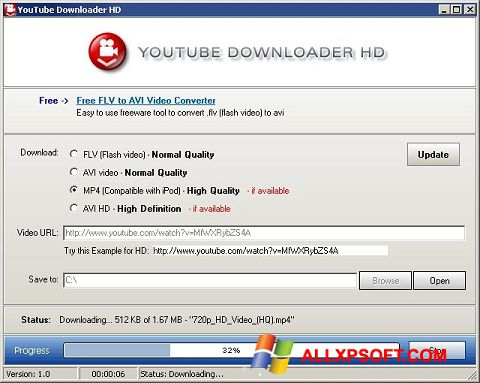 Снимка на екрана Youtube Downloader HD за Windows XP
