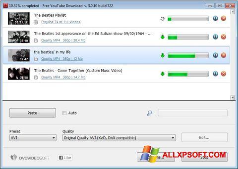 Снимка на екрана Free YouTube Download за Windows XP